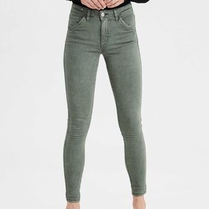 American eagle dark olive green jeggings